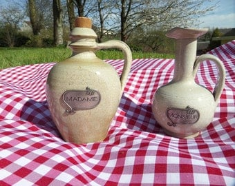 SALE - His & Hers French old Calva and Pommeau Jugs