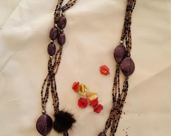 Necklace with purple stones and pearls