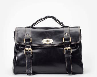 Classic Black Hand Bag with Removable Shoulder Strap in Premium Leather - By Mayer