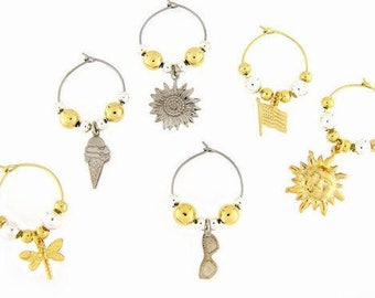 Summer Drink Charms, Wine Glass Charms