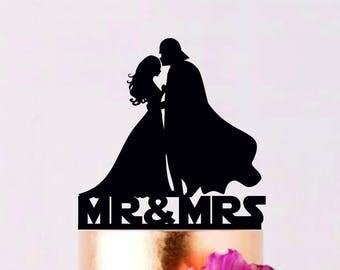 Darth Vader Cake Topper, Darth Vader Wedding Cake Topper, Darth Vader Silhouette Cake Topper , Mr and Mrs Topper, Superhero Topper