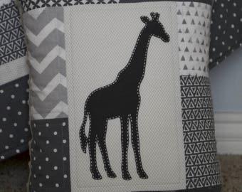 Safari baby pillow with minky backing, and hand sewn Giraffe appliqués - Safari theme -  Dark and Light Gray - White - Modern - Homemade