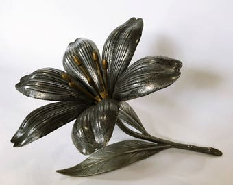pewter & brass lotus flower petal ashtrays