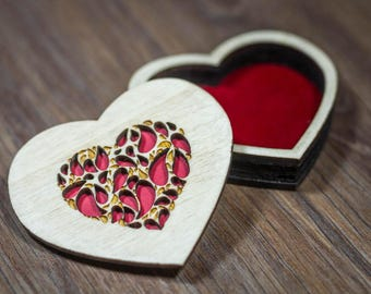 Heart Ring Box - Handmade out of poplar wood