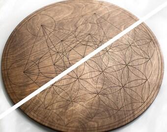 Warm Walnut Crystal Grid - Large & Double Sided - Flower of Life / Metatron's Cube - Birch Wood Altar Board - Sacred Geometry