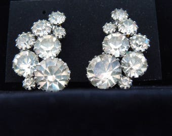 signed Weiss rhinestone earrings vintage clip back