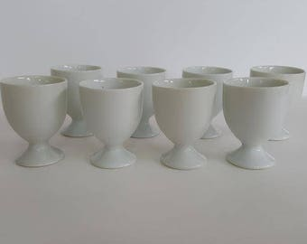 Sale! Vintage White Ironstone Eggcups Set of 8 Eggcups Lot of 8 Eggcups China Eggcups