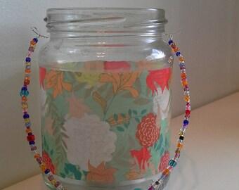 Tropical print candle jar lantern