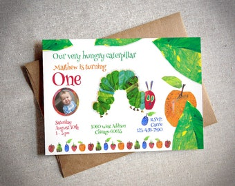 Very Hungry Caterpillar Birthday Party Invitation and Thank you card - Print Yourself