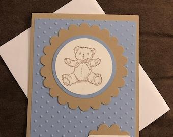 Baby shower card, baby shower invitation, baby card, teddy bear card, baby gift card