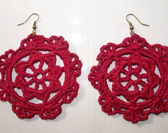 Red floral crochet earrings