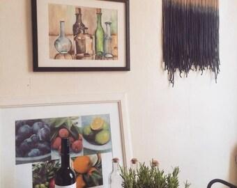 Wallhanging  'Indigo & Fringes' / Dip-dyed Wandschmuck / Ombre Wandbehang / Unikat