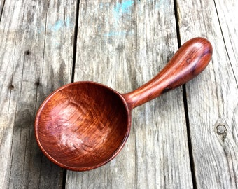 Hand carved wooden spoon scoop