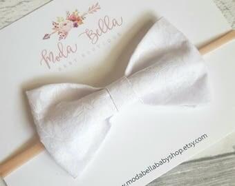 White bow, Baby Headband, Baby bows, Headbands, Hair Accessories, Bows, Hair Bows, Newborn Headband, Infant Headbands, Baby Girl Headbands