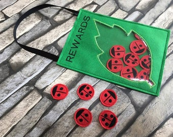 Ladybird reward holder, machine embroiery design, ITH, in the hoop, Behaviour reward, reward chart, reward jar,4x4, 5x7