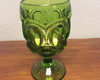 Vintage Avocado Green Glass Goblet c1960-1970s