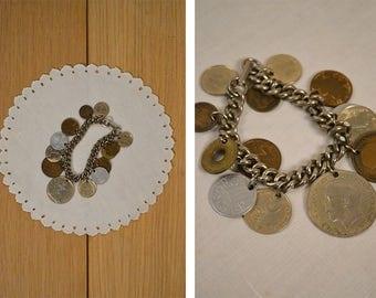 Charm Bracelet / Coins / Vintage Jewelry