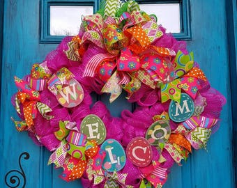 Pink Welcoming Wreath