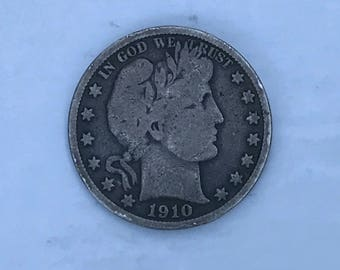 1910-S Vintage Barber Half Dollar - Silver Coin - Circulated