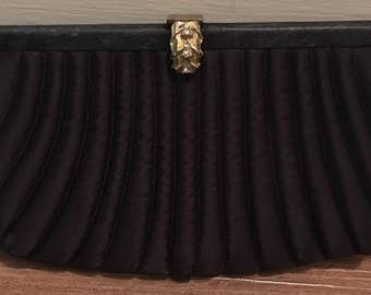 Vintage La France Quilted Black Satin Evening Clutch