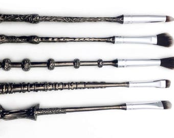 5 pieces Harry Potter Fans Wizard Wand Make Up Brushes Set METAL HANDLE Cosmetics