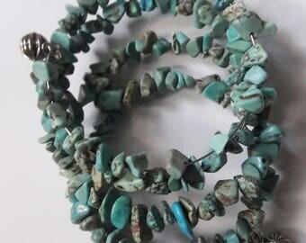 Turquoise semi precious stone  5 wrap bracelet with silver beads