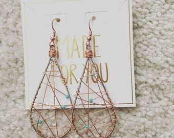 Unique copper wire boho earrings