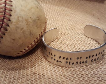 Baseball/Softball Inspirational Quote wide cuff made-to-order handstamped silver bracelet