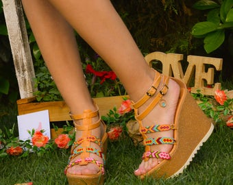 Leather Handmade Platform Sandals with colourful shoe braids
