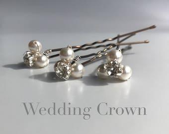 Bridal Hair Pins x3 Swarovski Crystal Pearls & Diamante Rhinestones