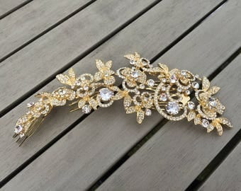 Tiara Rhinestone Wedding accessories Headpiece Headband Gold Hair comb clip Bridal white crystal Hair hairpiece