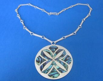 Sterling Silver Abalone Necklace. 32 grams.