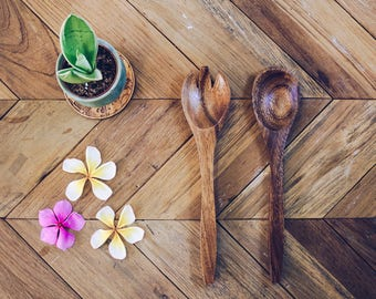 Set of 2 Handmade Acacia Wooden Utensils 10"