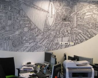 Into the Void, wall sticker of a painting by an israely artist - price set by size