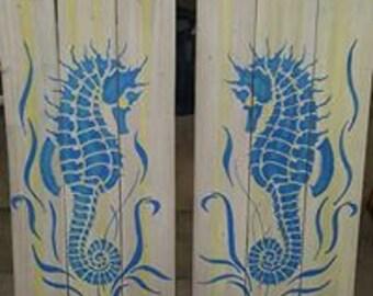 Blue Seahorse on White