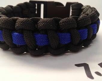 7.5 inch Blue Line Paracord Survival Bracelet