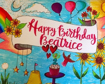 Custom Colour 'My Favourite Things' Celebration Card