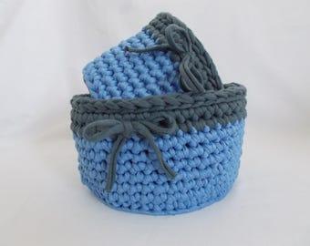 2 piece of crochet basket, yarn basket, bathroom makeup basket, toys basket, cotton crochet basket, spagetti yarn basket, handmade basket