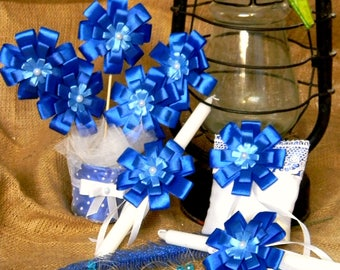 Wedding set\White Satin Embellished with Blue flowers\Blue Wedding Pillow\Blue Candles