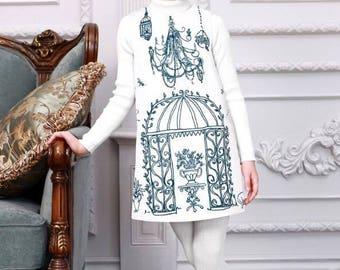 Garden White and Navy Dress