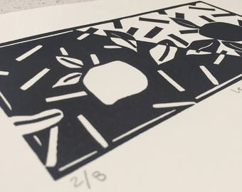 Original Lino Print Lemon