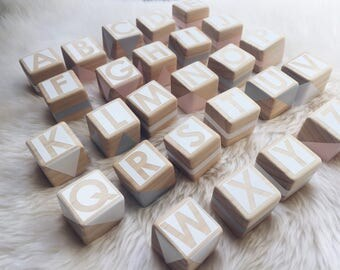 Wooden Alphabet Set - Pink, Grey and White