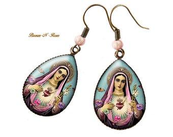 Boucles d'oreilles gouttes * la vierge marie aux fleurs * cabochon bronze vintage