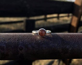 Sunstone and Sterling Silver Ring
