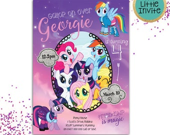My little pony Invitations // My little pony Birthday // My little pony Invite // My Little Pony Party // Rainbow Invitation // Invites