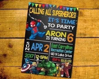 Lego Superhero Birthday Invitation -Lego Superhero Birthday Party Invitation -Lego Superhero Printable Digital File-Lego Superhero Invite