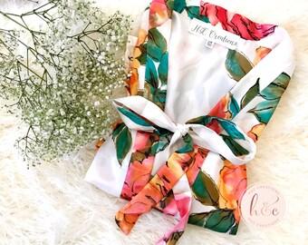 Sale! Satin Floral Robe, Bridesmaid Robes, Bridesmaid Gift, Bridal Robe, Bridesmaid Gifts, Satin Robes, Wedding Robes