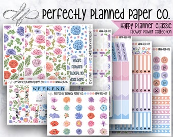 Flower Power Collection  // Full Weekly Kit // Happy Planner Classic