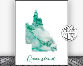 Queensland Print, Queensland Art Print, Home Decor, Queensland Map Wall Art Prints Wall Art Home Wall Decor, Living Room Decor, ArtPrintsZoe