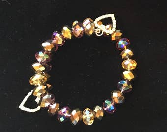 Crystal wire bracelet with heart charm